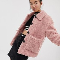 New Look teddy jacket with buttons in pink | ASOS