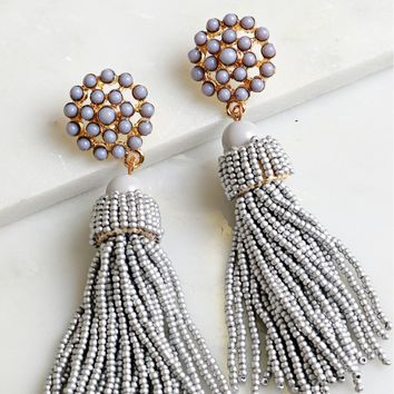 Tassel Beaded Earring Grey