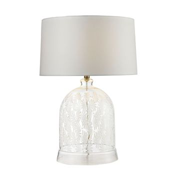 Landscape Painted Bell Glass Table Lamp in Clear and White Clear,White