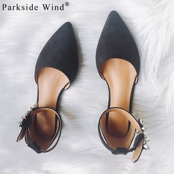 Parkside Wind Summer Flat Sandals  Flat with Crystal Flower Pointed toe Shoes Suede Leather Party Fashion Woman Shoes 1468-5