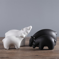 white ceramic concise Polar bear home decor crafts room decoration handicraft porcelain animal figurines wedding decorations
