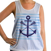 Girls Racerback Pinnie Lacrosse Sticks Anchor With Blue Stripes | Lacrosse Racerbacks | Lacrosse Pinnies | Lacrosse Tank Tops | Pinnies for Lacrosse Players