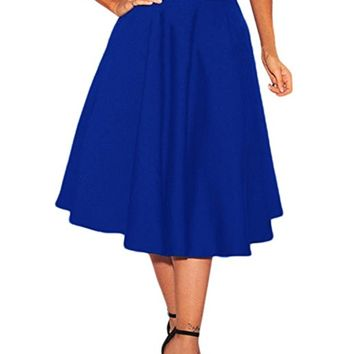 Women's High Waist A-Line Pleated Midi Skirt Dresses