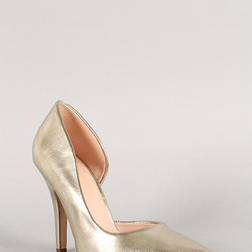 Delicious Metallic Pointy Toe Dorsay Pump
