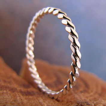 Skinny silver stack ring number 21