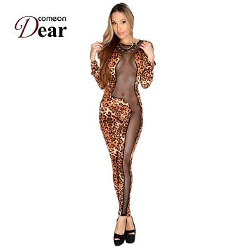 RB70129  New arrival summer style women jumpsuit o-neck long sleeve sexy women wear red blue and leopard fashion jumpsuit