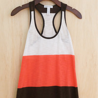 Essential Summer Color Block Tank, Coral