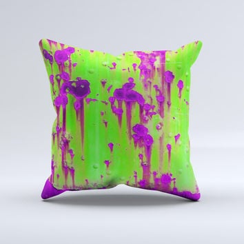 Lime Green Metal with Hot Purple Rust  Ink-Fuzed Decorative Throw Pillow