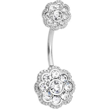 Clear CZ Gem Art Deco Flower Double Mount Belly Ring