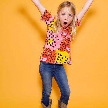 Kids Micotti Cat Print Party Tee