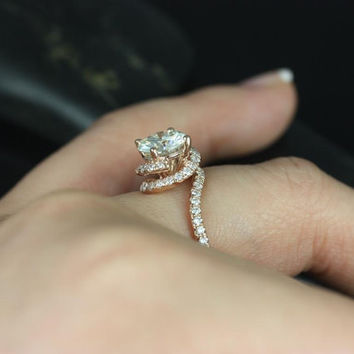 Alicia 7.50mm 14kt Rose Gold Round FB Moissanite & Diamond Twist Engagement Ring (Other metals and stone options available)