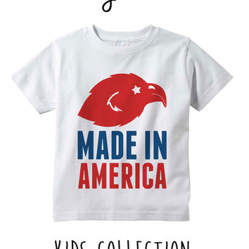 Made In America Heather Grey / White Toddler Kids T Shirt Clothes Gift