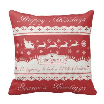 Vintage Santa's Deer Typography Christmas Pillow