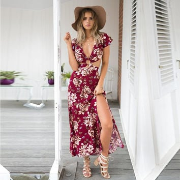 Red Floral Printed Short Sleeve High Slit Dress