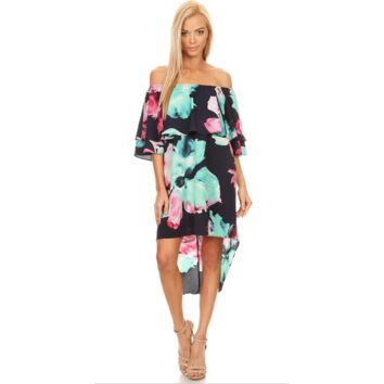 Water Lilly Ruffled  Off the Shoulder Dress