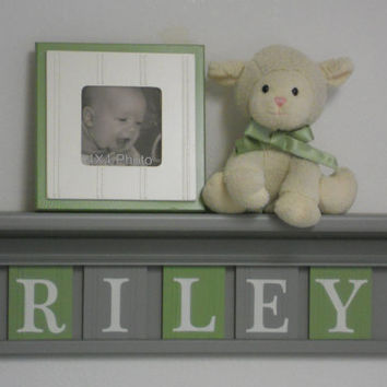 "Gray and Green Nursery Wall Art - Green Baby Boy Nursery Decor - RILEY - Personalized Grey 24"" Wood Shelf 5 Wooden Wall Letters"