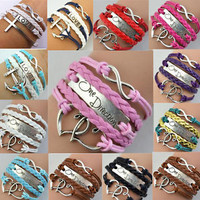 Jewelry fashion Leather Cute Infinity Charm Bracelet Silver lots Free Shipping