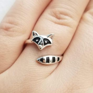 Sterling Silver Raccoon Ring 925 Animal Ring Raccoon Jewelry Cute Raccoon Gift Nature Ring Adjustable Ring Woodland Ring Mother's Day Gift