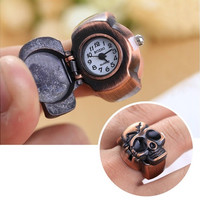 Personality Creative Finger Skull Ring Watch Vintage Clamshell Pirate Skull Design Woman Man Party [9222576196]