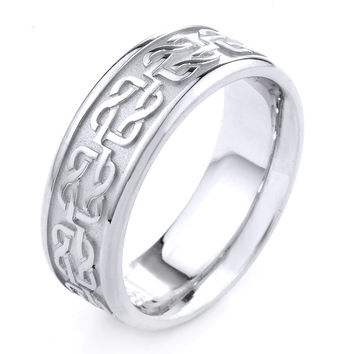 White Gold Celtic Band, Celtic Ring, Mens Jewelry, Celtic Wedding Ring, Celtic Wedding Band, Mens Celtic Ring, Anniversary Ring, Mens Rings