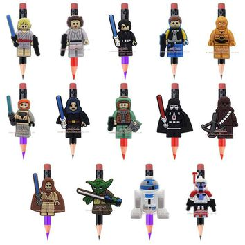 Novelty school supplies 14pcs hot movie Legos star war pencil topper caps For School Bags Supplies Stationery kids party favor