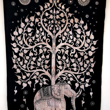 brown Tree of life elephant tapestry, good luck tapestry, Tapestry hippie tapestry mandala tapestry indian tapestry wall hanging bedding