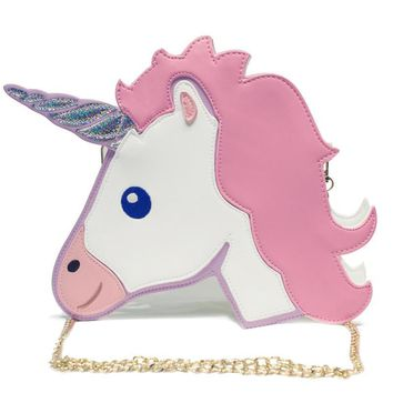 New Fashion Funny Women Unicorn Bags Clutch Mini Flap Shoulder Chain Phone Pouch Purse Messengers Unique Wallet Cartoon BA013
