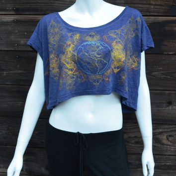 Women's Blue Crop Top - One of a Kind - Glow in the Dark Earth and Gold Heart Mandala - Hand Printed Shirt - Sacred Geometry