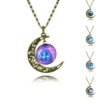 Galaxy Cabochon Alloy Hollow Moon Pendant Necklace