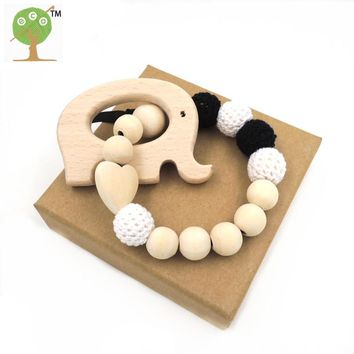 New black white crochet beads natural eco-friendly Baby teething toys safe infant chew elephant rattle baby shower gift ET89