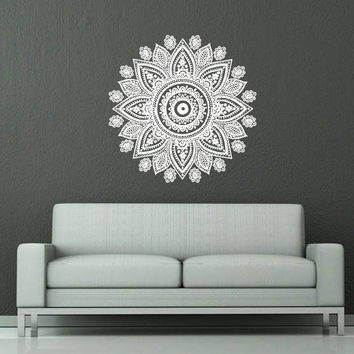 Wall Decal Vinyl Sticker Decals Art Home Decor Mural Mandala Ornament Indian Geometric Moroccan Pattern Yoga Namaste Lotus Flower Om AN566