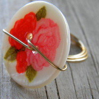 Vintage inspired red and pink rose button wire wrapped Ring