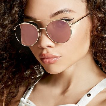 High-Polish Round Sunglasses