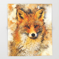 fox #fox #animals Throw Blanket by jbjart