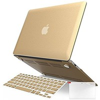 """iBenzer Basic Soft-Touch Series Plastic Hard Case & Keyboard Cover for Apple Macbook Air 13-inch 13"""" A1369/1466 (Gold)"""