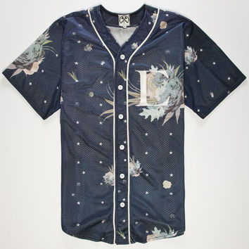 Civil Floral Star Mens Baseball Jersey Navy  In Sizes