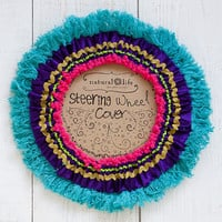 Fringe Purple Teal Steering Wheel Cover