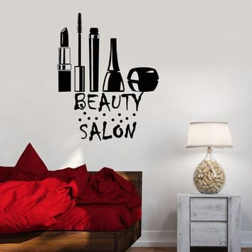Vinyl Decal Beauty Salon Makeup Cosmetics Barbershop Spa Stylist Wall Stickers Unique Gift (ig2755)