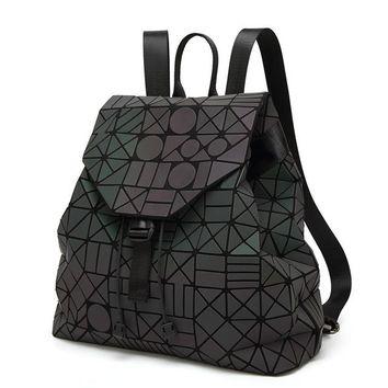 School Backpack trendy 2017 new PVC noctilucent patchwork women backpacks japanese style teenage girls school bags geometric luminous woman backpack AT_54_4