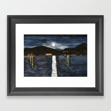 full moon by the sea Framed Art Print by Colorful Nature