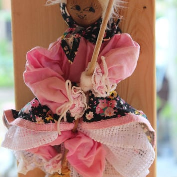 Vintage Lucky Kitchen Witch Doll by Original Nanka, Witch Figurine, Flying Witch, Halloween Character Doll, Collectible, Home Decor