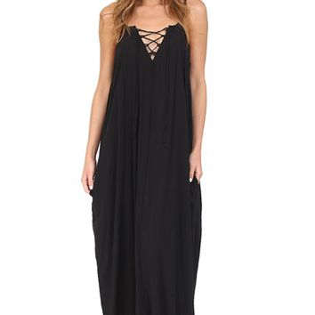 Black Lace Up Maxi Dress at Blush Boutique Miami - ShopBlush.com : Blush Boutique Miami – ShopBlush.com