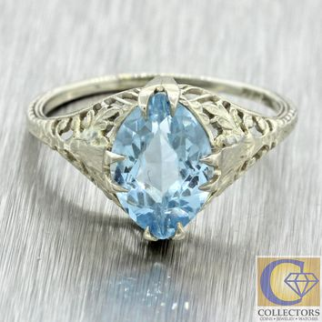 Vintage Estate 14k White Gold Filigree 2.00ct Aquamarine Cocktail Ring