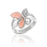 Del Gatto Designer Rings Diamond and Pink Coral Butterfly 18K Gold Ring
