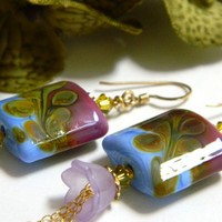 Distinctive Lampwork Earrings, Handmade, Crystals and Lucite Flowers