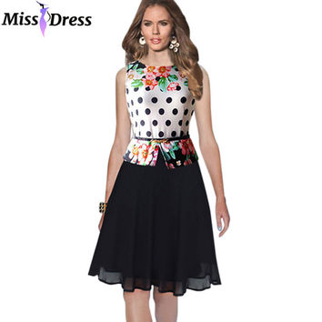 Women Summer Party Dresses Elegant 2016 New Style Sleeveless Printed Knee Length with Belt Dresses Vestidos Femininos MISSDRESS