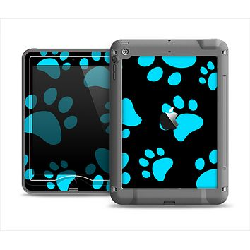 The Black & Turquoise Paw Print Apple iPad Mini LifeProof Nuud Case Skin Set