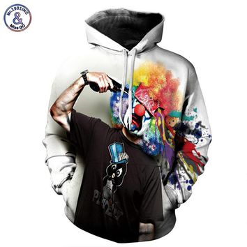 Cap Print Gun Clown Hooded