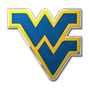 West Virginia Mountaineers Die-Cut Metal Color Auto Emblem - Decal , Sticker