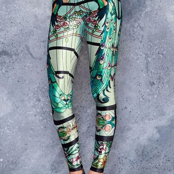 GLASS GARDEN HIGH WAISTED VELVET LEGGINGS - LIMITED